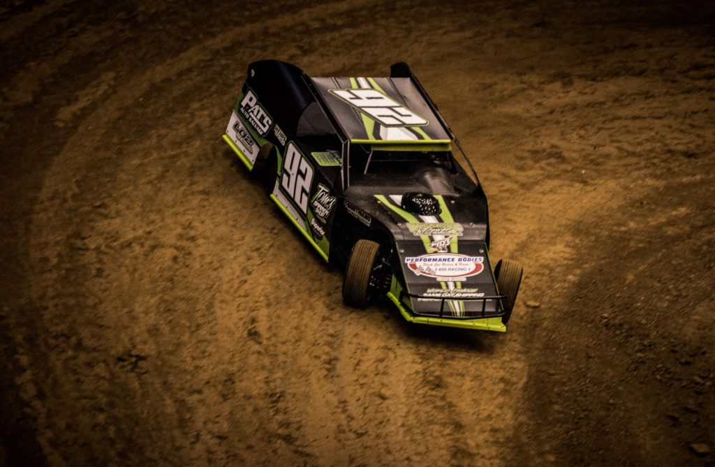 Waterloo driver Tyler Droste races during the Gateway Dirt Nationals in St. Louis in December 2016. (Tyler Rinken photo)